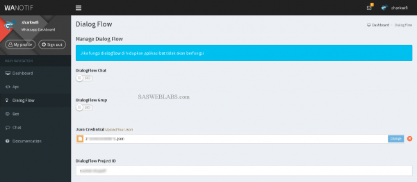 Integrasi Google Dialogflow dengan whatsapp dashboard sasweblabs